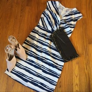 Navy/White Sheath Dress with Cross-front Detail